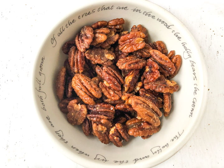 holiday candy bowl with keto candied pecans