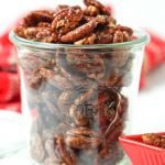 jar of keto candied pecans with text overlay