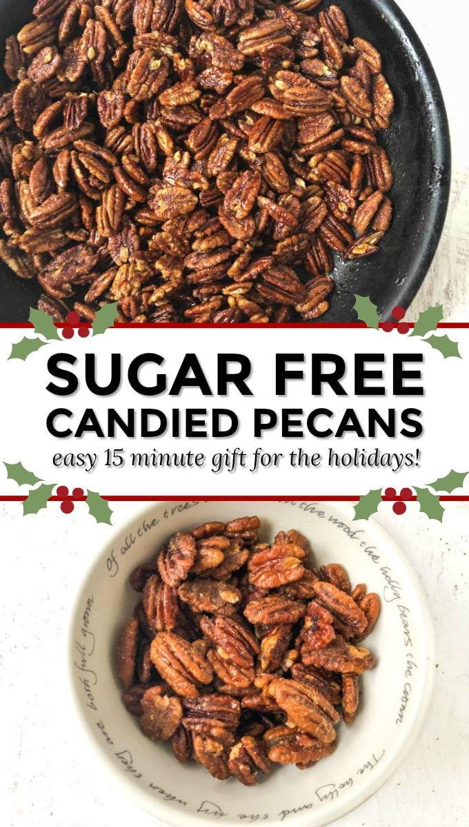 pan and bowl of keto candied pecans with text overlay