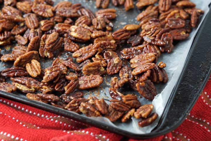 cookie sheet with sugar free candied pecans