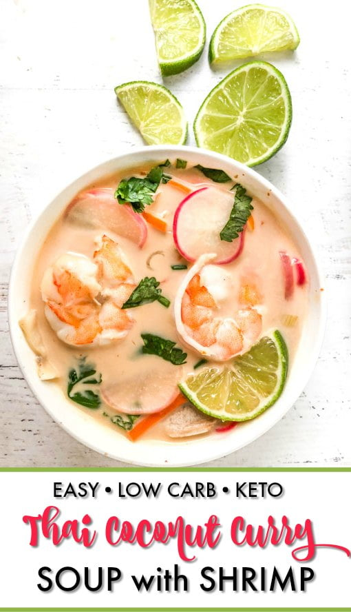 white bowl with thai coconut curry soup with limes and txt overlay