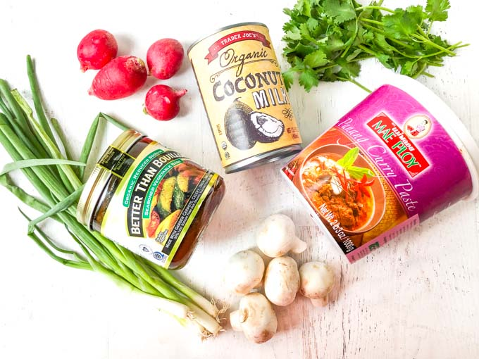 ingredients for coconut curry soup: Better than Bouillon, green onions, radishes, coconut milk, red curry paste, mushrooms and cilantro