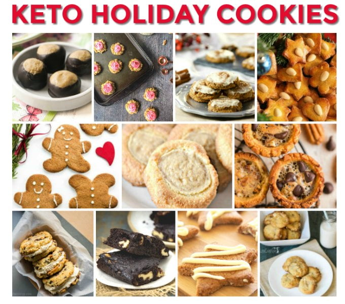 a collage of keto Christmas cookies with text overlay