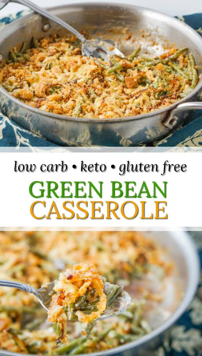 pan with green bean casserole and text overlay