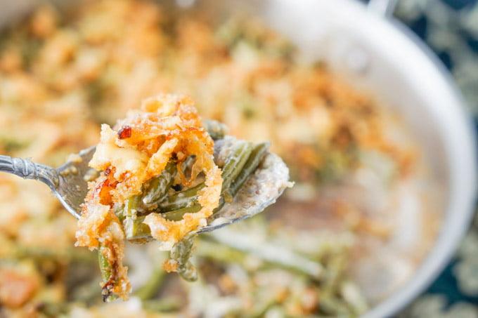 spoonful of keto green bean casserole
