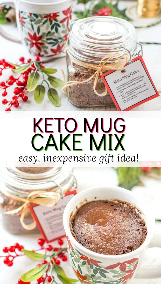 jar of keto mug cake mix and holiday mugs with text overlay