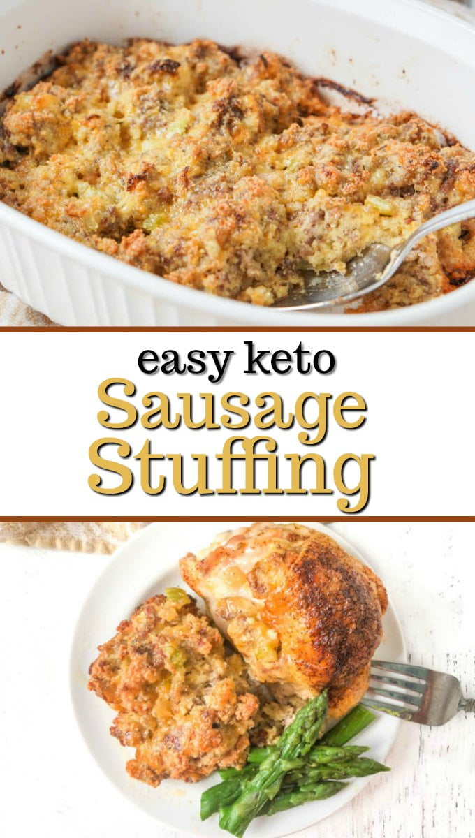 a plate and baking dish of keto sausage stuffing with text overlay