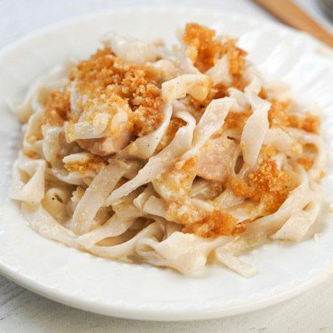 closeup of turkey noodle casserole