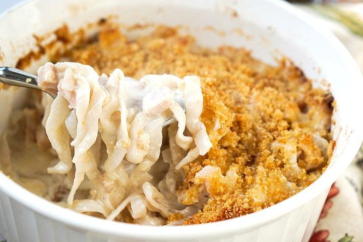 forkful of wonder noodles in casserole