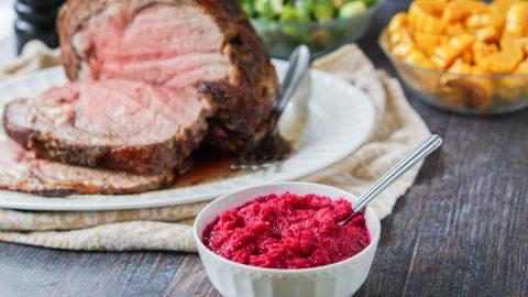 Holiday Prime Rib Roast with Beet & Horseradish Sauce