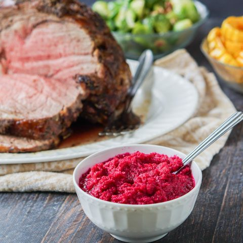 Holiday Prime Rib Roast with Beet & Horseradish Sauce