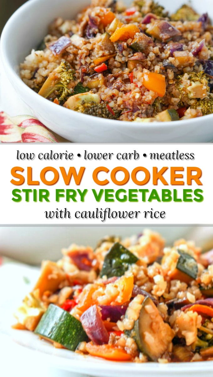 white plate with slow cooker stir fry vegetables with cauliflower rice with white bowl  with text overlay