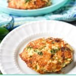 easy low carb crab cakes on a white and aqua plate with text