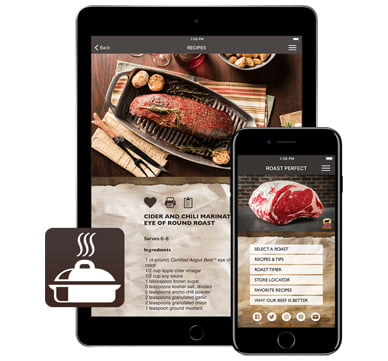photo of Roast Perfect app on iPad, iPhone and logo