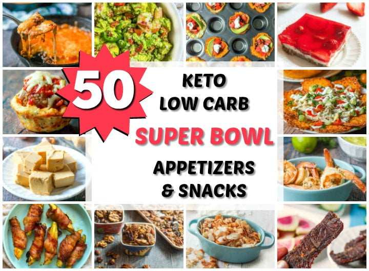 A collage of low carb keto appetizers and snacks for a super bowl party with text