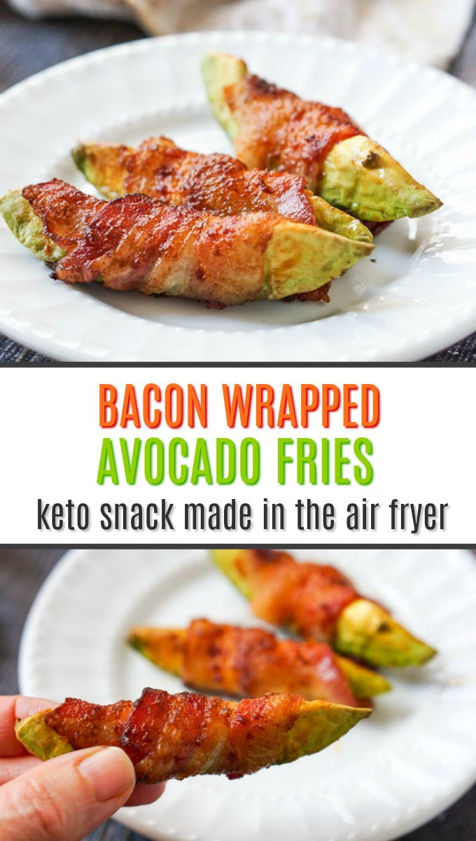 white plate with keto bacon wrapped avocado fries with text