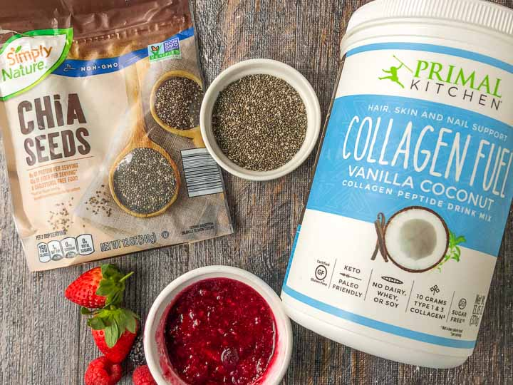 ingredients for low carb chia pudding: chia seeds, primal kitchen collagen fuel, berry sauce and strawberries
