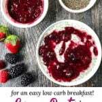 white bowl of berry chia pudding with text