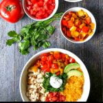 white keto burrito bowl with toppings and text
