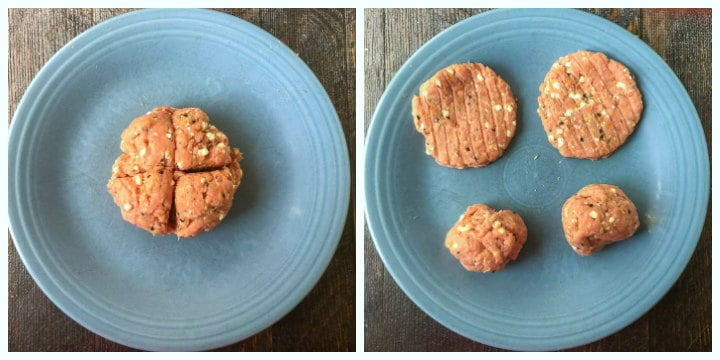 collage of two blue plates. one with raw burger meat cut into fourths and the anther with two thin burger Pattie snacks and two balls of raw turkey meat
