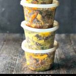 containers with low carb ground beef and cabbage in different flavors with text