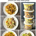 plates with low carb ground beef and cabbage in different flavors with text