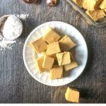 white plate with easy keto peanut butter fudge with text