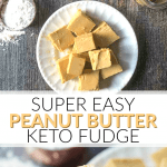 white plate and fingers holding easy keto peanut butter fudge with text