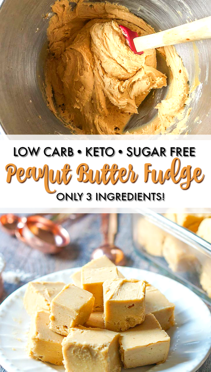 mixing bowl and white plate with easy keto peanut butter fudge with text
