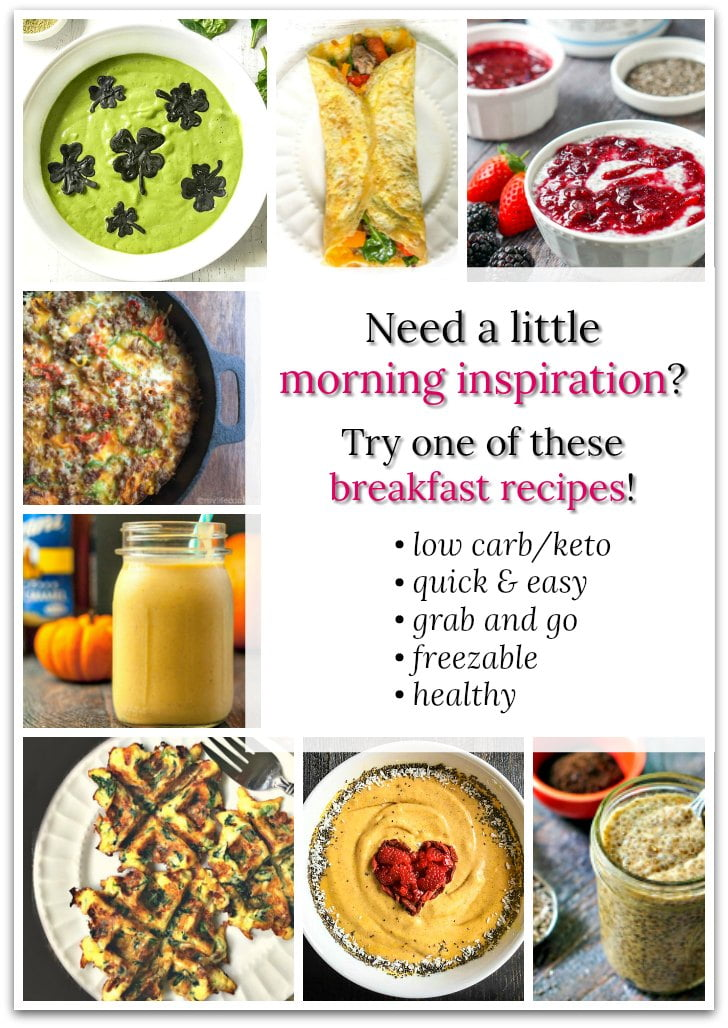 collage of low carb breakfast ideas with text