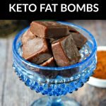 white dish of chocolate salted caramel keto fat bombs with text