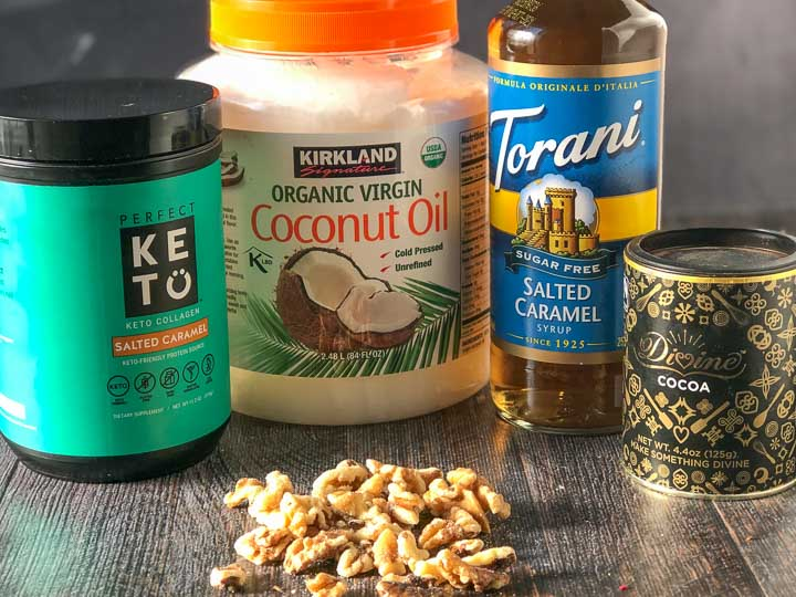 keto fat bomb ingredients: Perfect Keto Collagen powder, coconut oil, Torani sugar free salted caramel syrup, Divine cocoa and raw walnuts