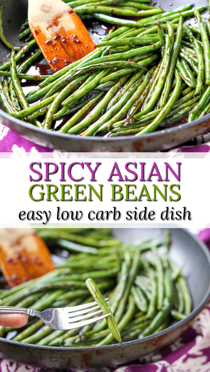 pan of low carb asian spicy green beans and text