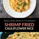 white plate and pan with keto fried cauliflower rice with shrimp plus the ingredients and text