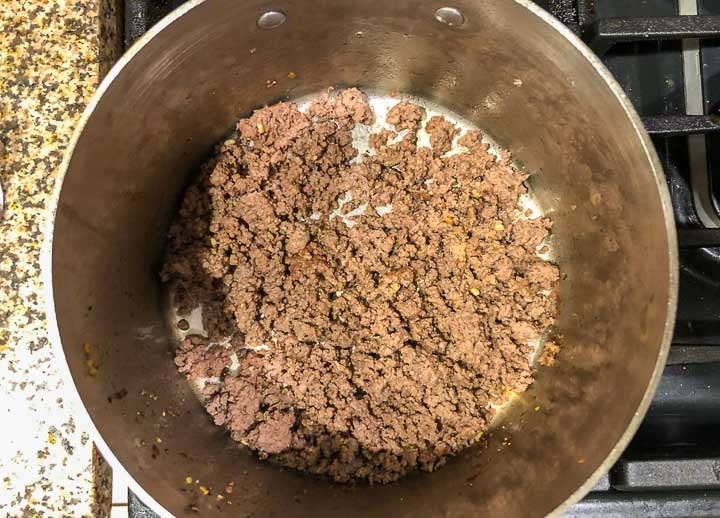soup pot with browned ground beef