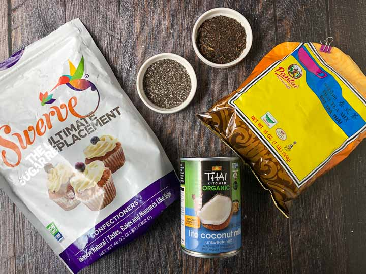 Ingredients for low carb thai tea chia drink: chia seeds, coconut milk, Swerve sweetener, coconut milk and Thai tea mix