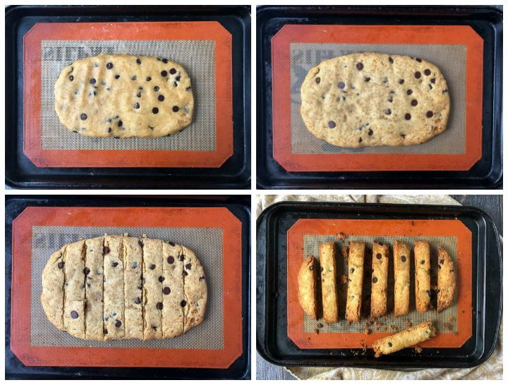 collage of cookie sheet in stages of making keto biscotti