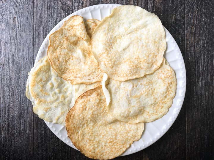 low carb coconut tortillas on a white plate