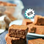 white plate with sugar free hazelnut fudge and text