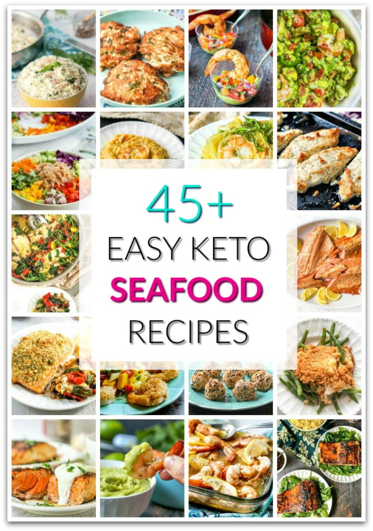 collage of keto seafood recipes with text