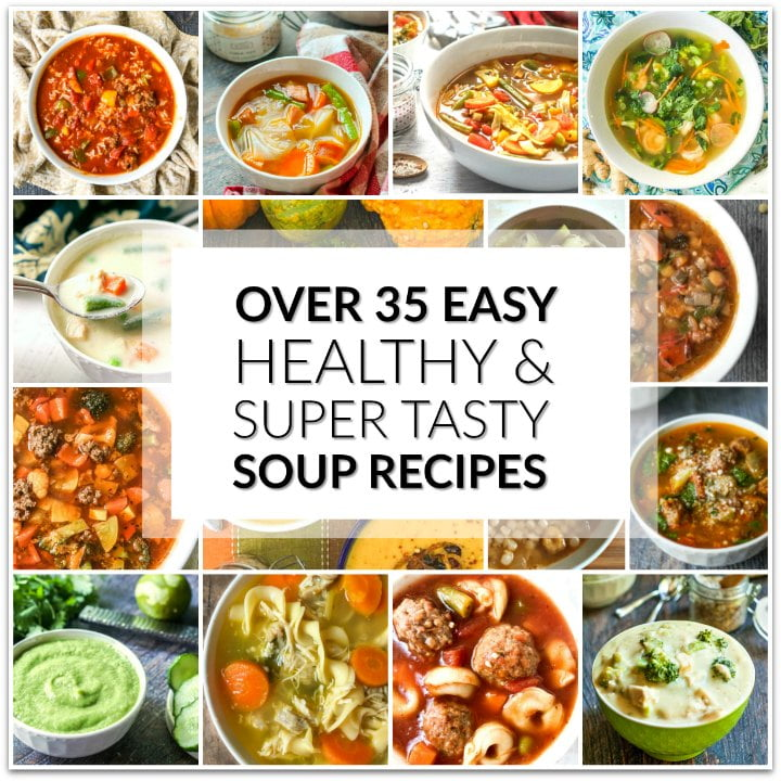 a collage of soup photos for keto dinner ideas with text