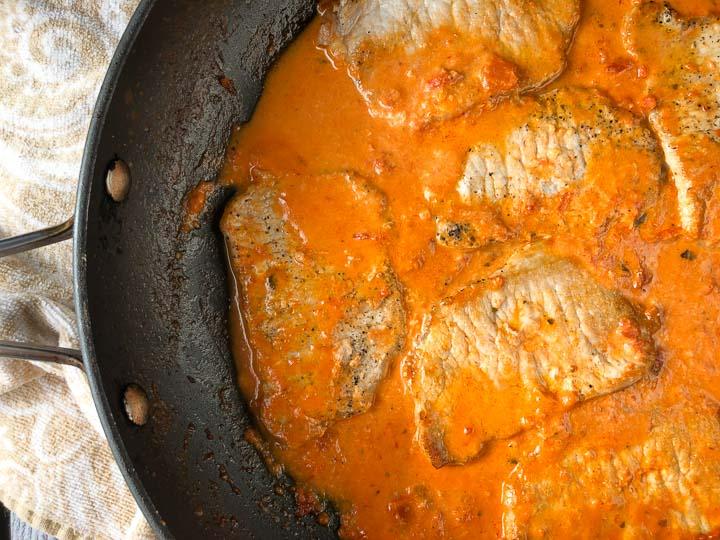 pan with keto creamy tomato pork chops