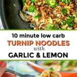 white plate and fork with low carb veggie noodles with text