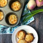 muffin tins with keto scalloped turnips and text