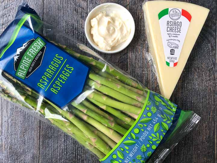 ingredients to make asparagus fries: raw asparagus, mayo and asiago cheese