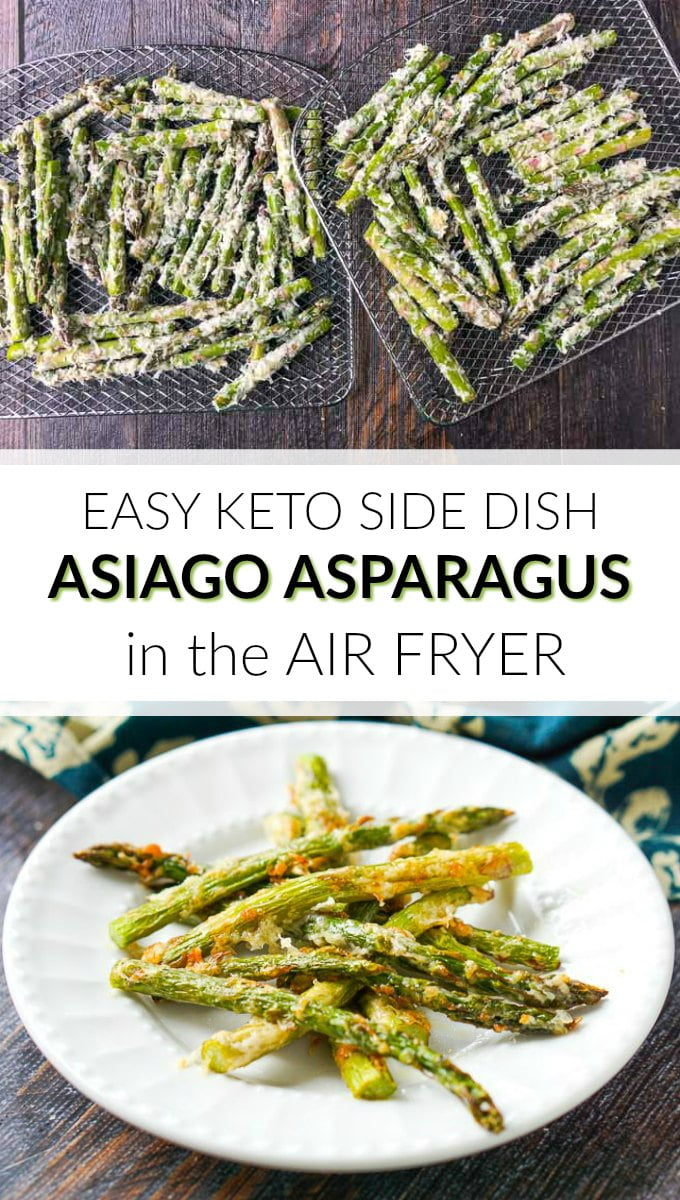 white plates with keto asiago asparagus fries made in the air fryer and text