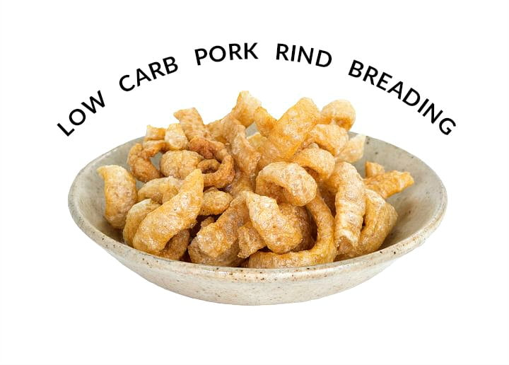bowl of pork rinds with text