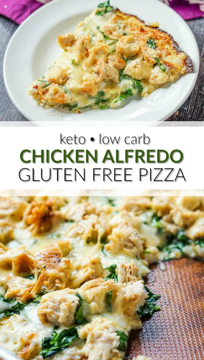 cookie sheet and white plate with keto chicken alfredo pizza and text
