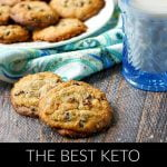 keto chocolate chip cookies with blue towel and text