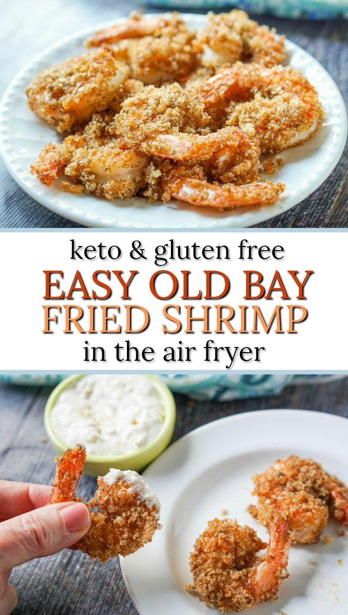 white plate with keto old bay fried shrimp made in the air fryer and text